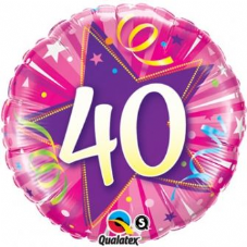 40th Birthday Shining Star Hot Pink Foil Balloon 18""